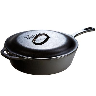 5 Quart Cast Iron Covered Deep Skillet