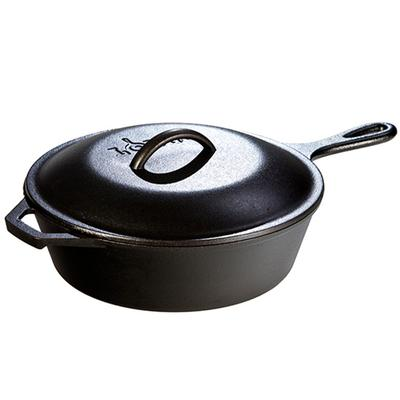 3.2 Quart Cast Iron Covered Deep Skillet