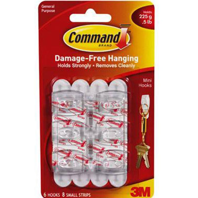 Command Mini Clear Hooks - 6 Pack