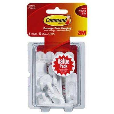 Command Small White Hook - Value Pack