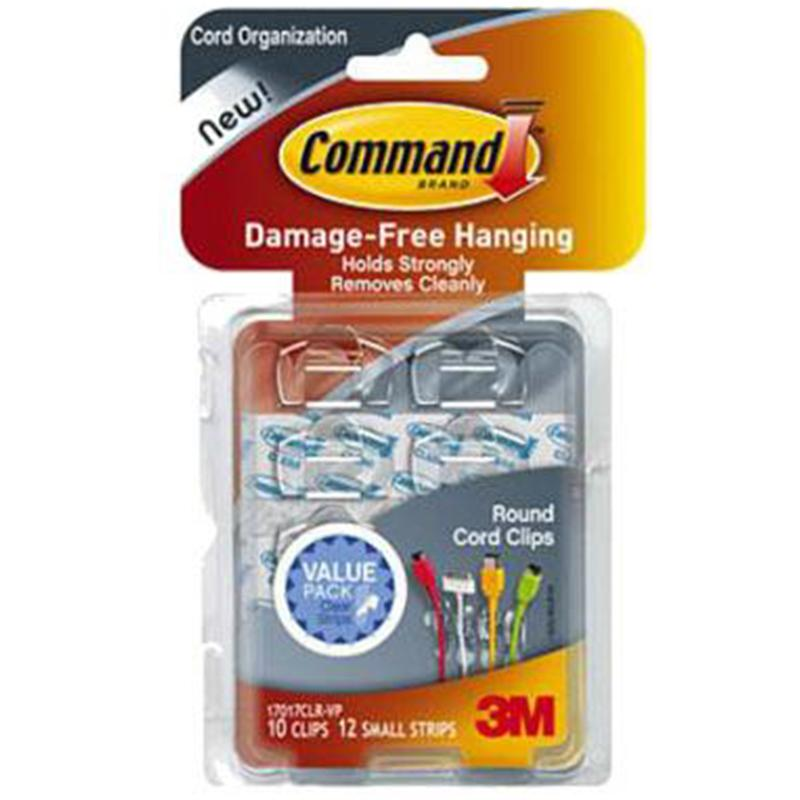 Command Clear Round Cord Clips Value (10 Pack)