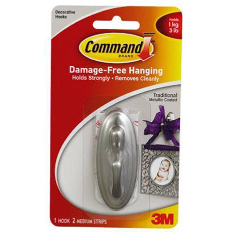 Command Brushed Nickel Traditional Medium Hook