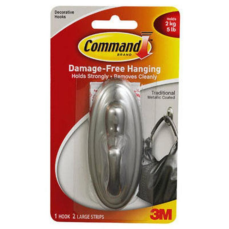 Command Brushed Nickel Traditional Large Hook