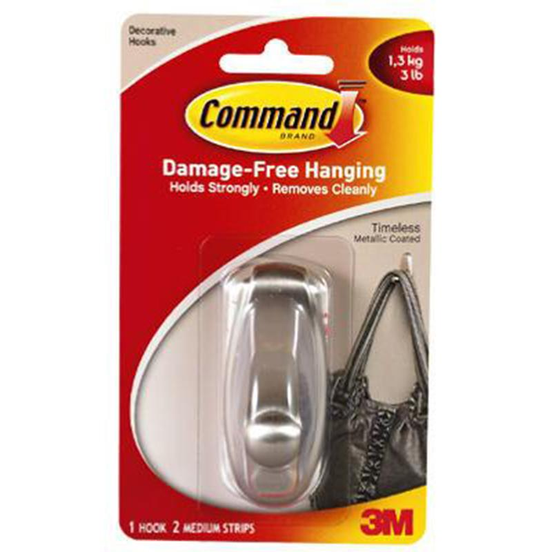 Command Timeless Brushed Nickel Finish Medium Hook