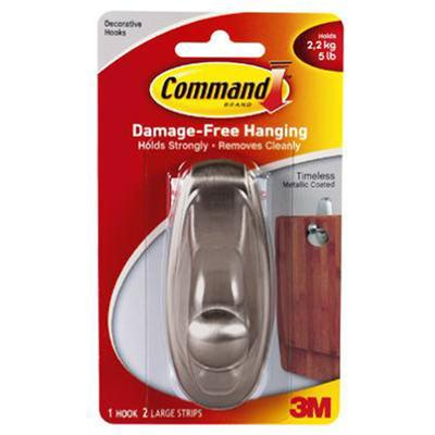 Command Timeless Brushed Nickel Finish Large Hook