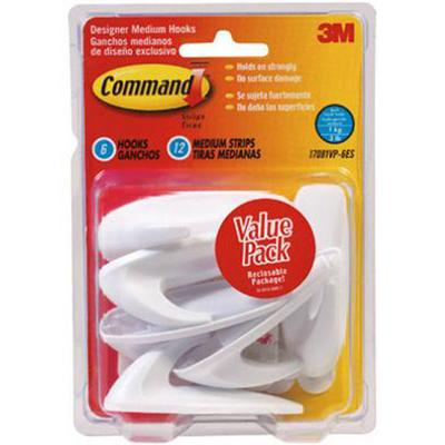 Command Designer Medium White Hooks (Value Pack)