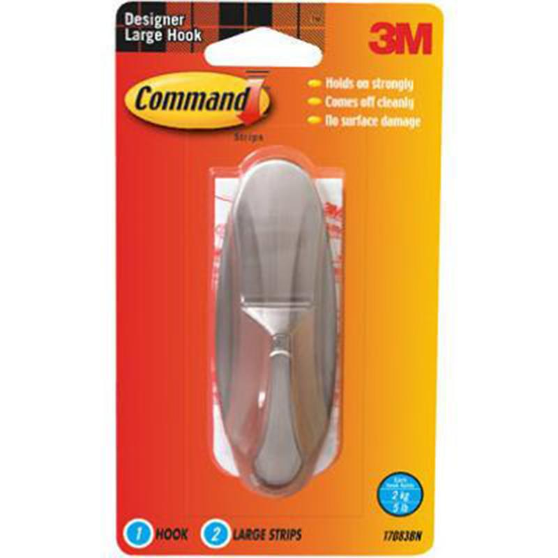 Command Designer Brushed Nickel Large Hook