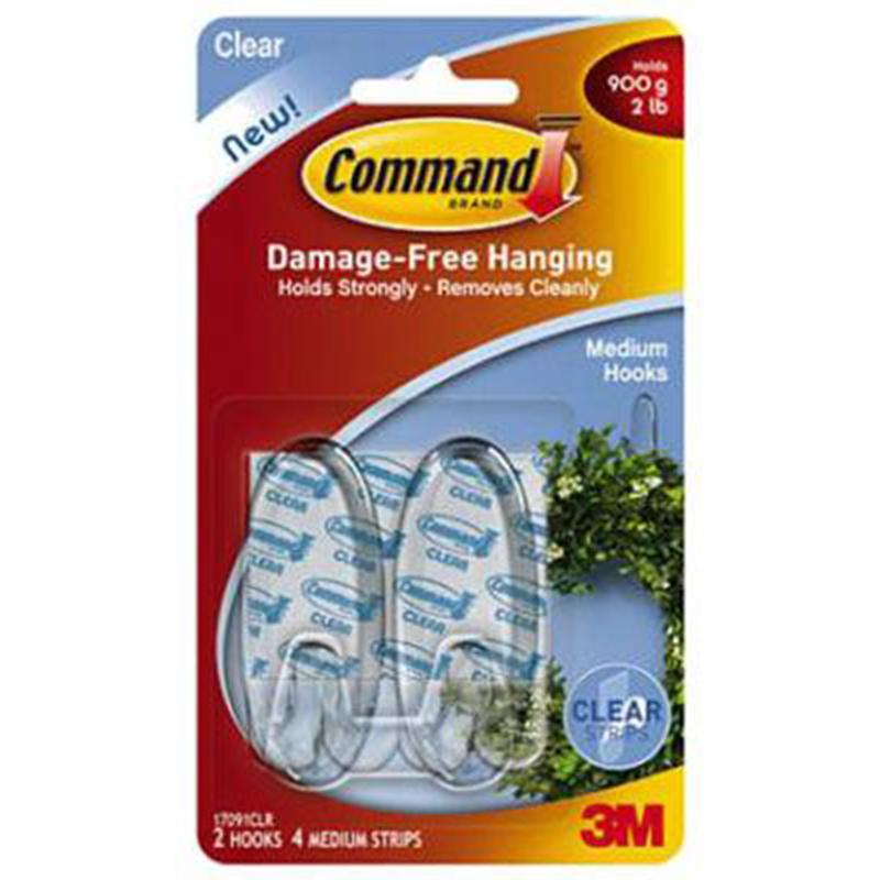 Command Medium Clear Hooks With Clear Strips (2 Pack)