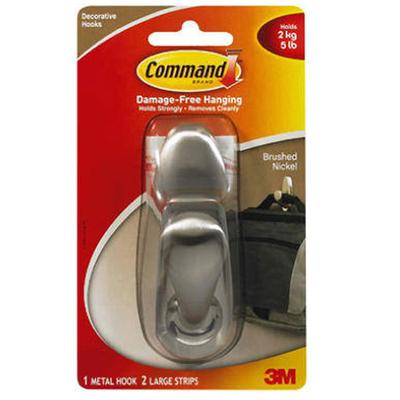 Command Large Brushed Nickel Forever Classic Hook
