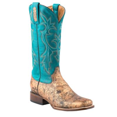Women's Embossed Python Square Toe Boot