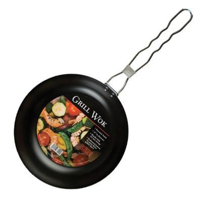 Round Grill Wok with Folding Handle