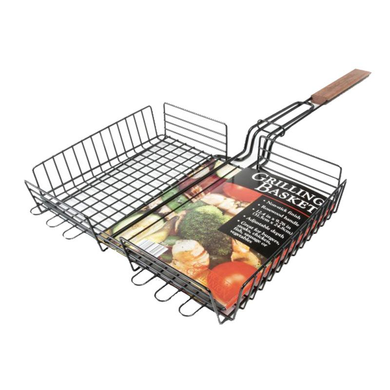 Rosewood Handle Non- Stick Grilling Basket