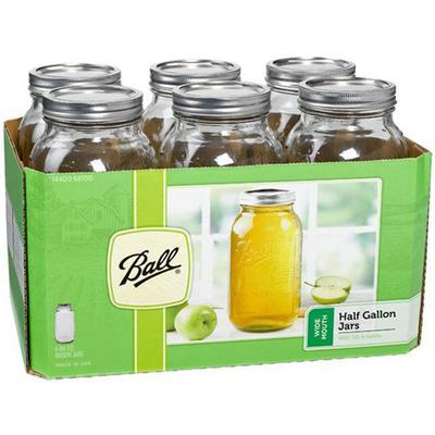 Wide Mouth Half Gallon Glass Mason Jars (6 Pack)