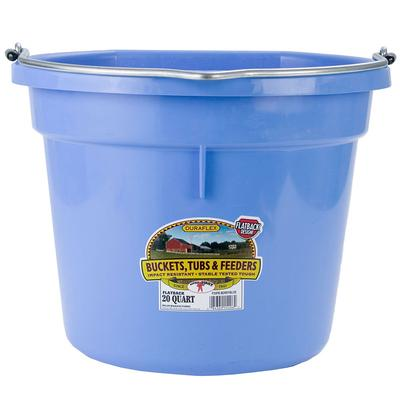 Flat Back Plastic Bucket- 20 Quarts