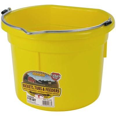 Flat Back Plastic Bucket- 8 Quart