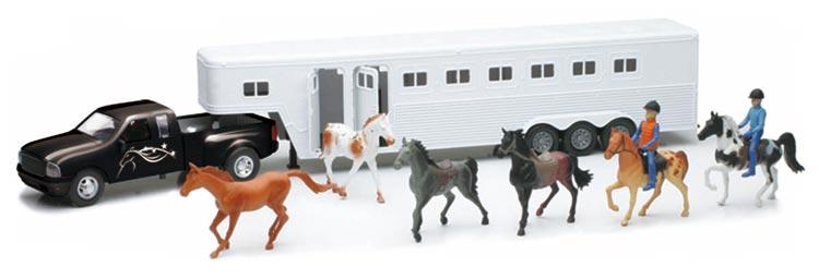 New- Ray Toys Pick Up Fifth Wheel Horse Trailer Set