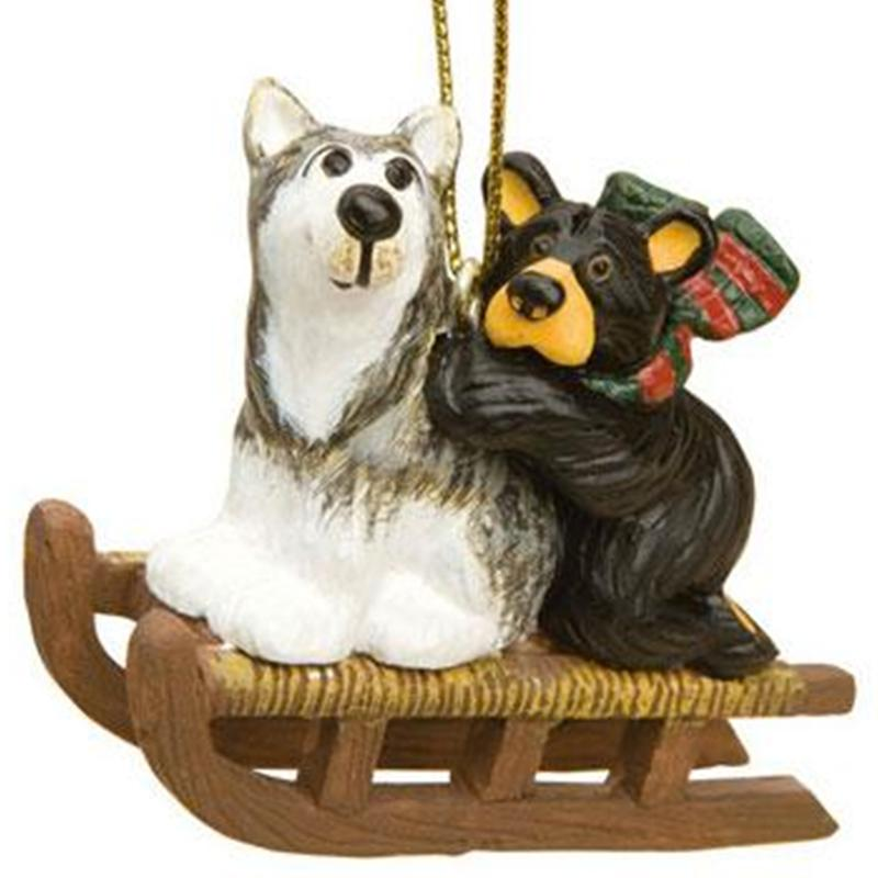 Bear And Sled Dog Ornament