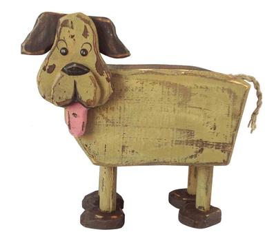 Rustic Wooden Dog Planter