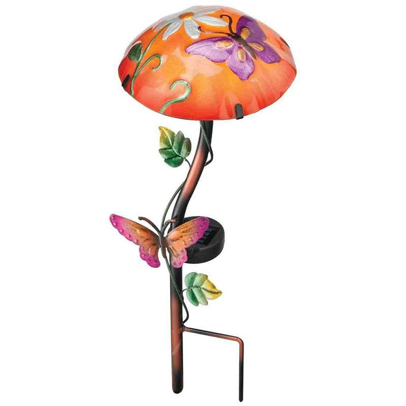 Solar Stake Mushroom And Butterfly