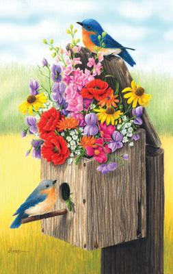 500 Piece Bouquet For Bluebirds Puzzle