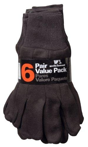 Unisex Brown Jersey Gloves - 6 Pack