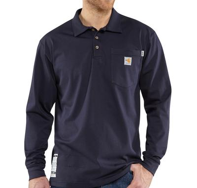 Men's Flame-Resistant Work Dry Cotton Long Sleeve Polo Shirt
