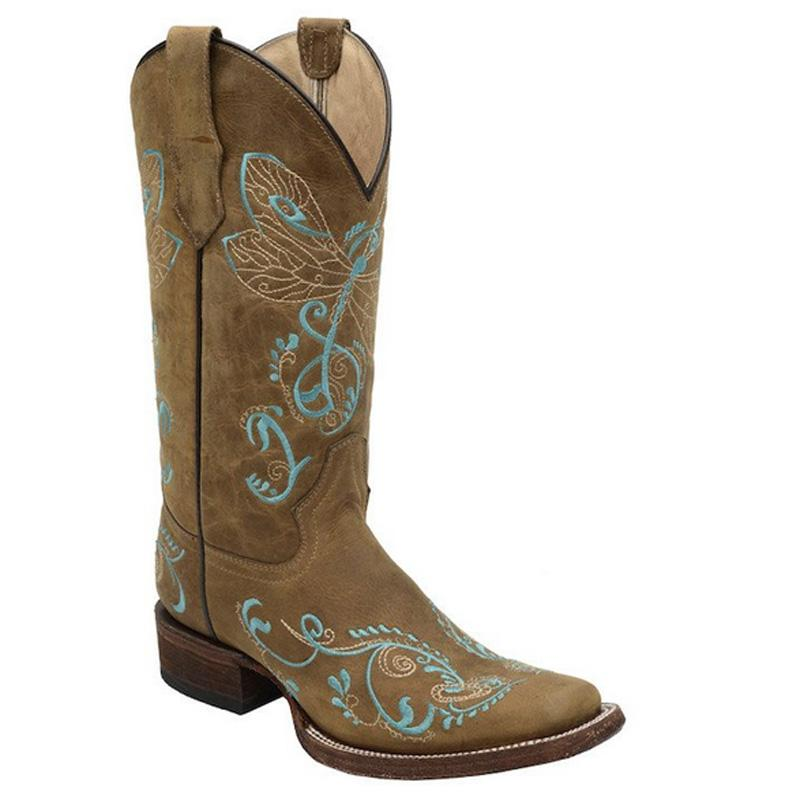 Women's Dragonfly Embroidery Boot