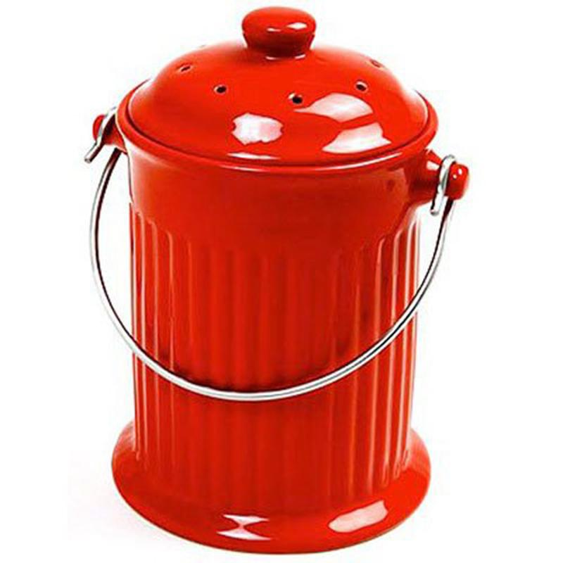 1 Gallon Ceramic Compost Keeper, Red
