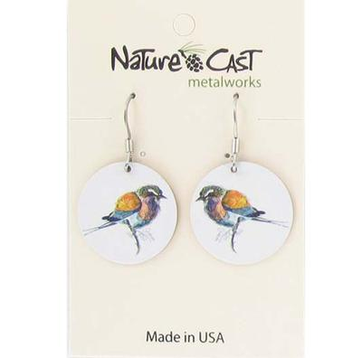Women's Dangle Colorful Bird On White Earring
