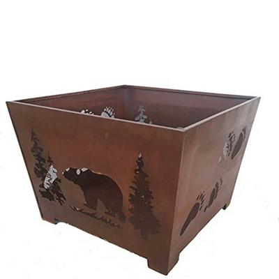 Bear and Tracks 24 in. x 16 in. Fire Pit