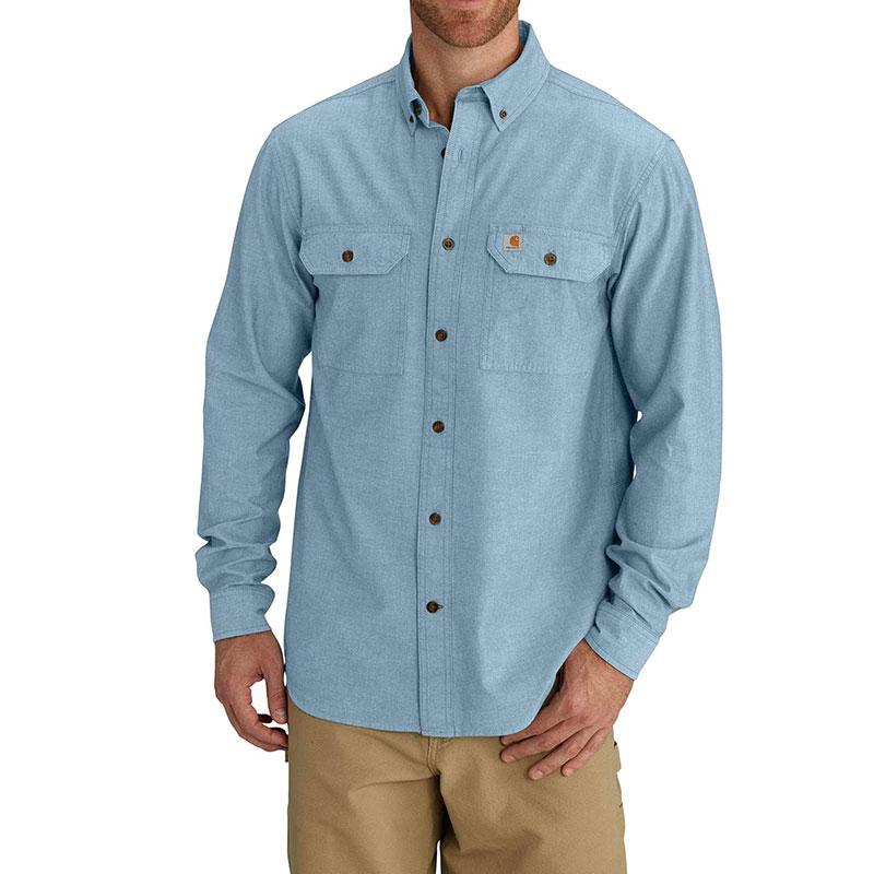 Mens Fort Solid Long Sleeve Chambray Shirt