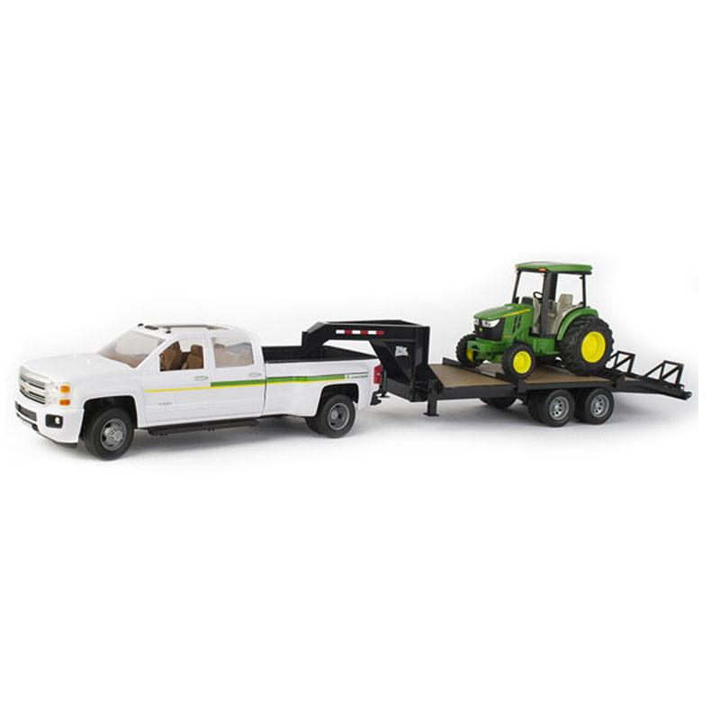 Big Farm Chevy Truck & Trailer With John Deere Tractor