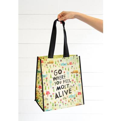 Go Where You Fell Most Alive Recycled Grocery Tote