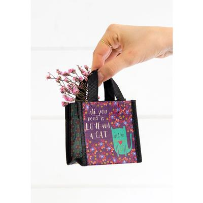 All you need is Love & A Cat Tiny Recycled Bag