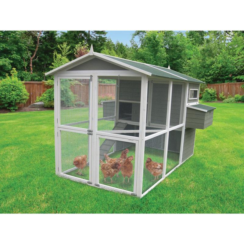 Coops & Feathers ® Extreme Walk- In Hen Coop Double Nesting Box Walk- In Up To 18 Birds