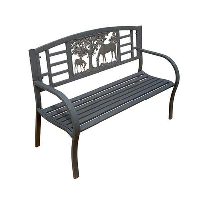 Curved Back Tube Steel Garden Bench - Horse