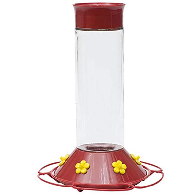 Glass Hummingbird Feeder, Red, 30 Oz