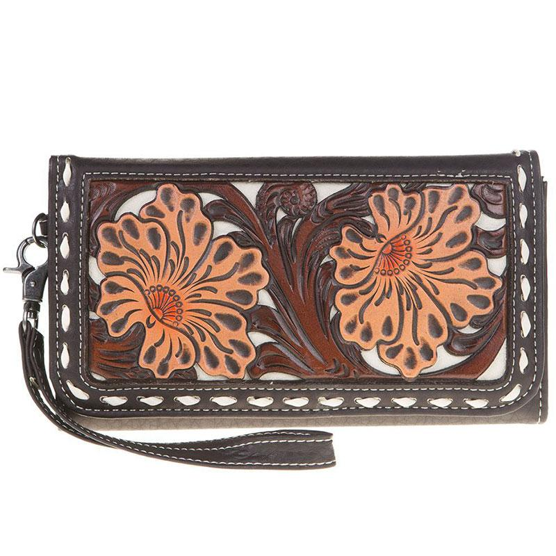 Aaliyah Clutch Tooled Floral Wallet