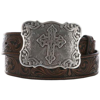 Womens Brown Embossed Cross Belt