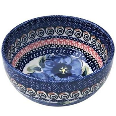 Blue Pansy Rice Stoneware Bowl