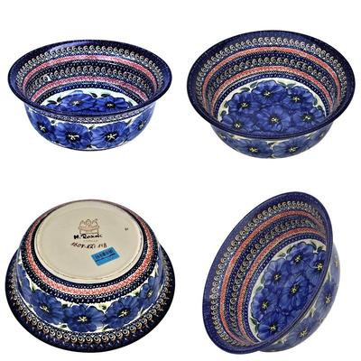 Blue Pansy 61oz Flared Top Stoneware Bowl