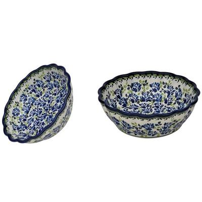 Blue Flower Scalloped Stoneware Serving Bowl