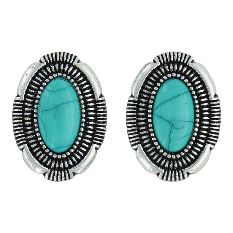Southwest Hatched Oval Post Earrings Attitude Jewelry