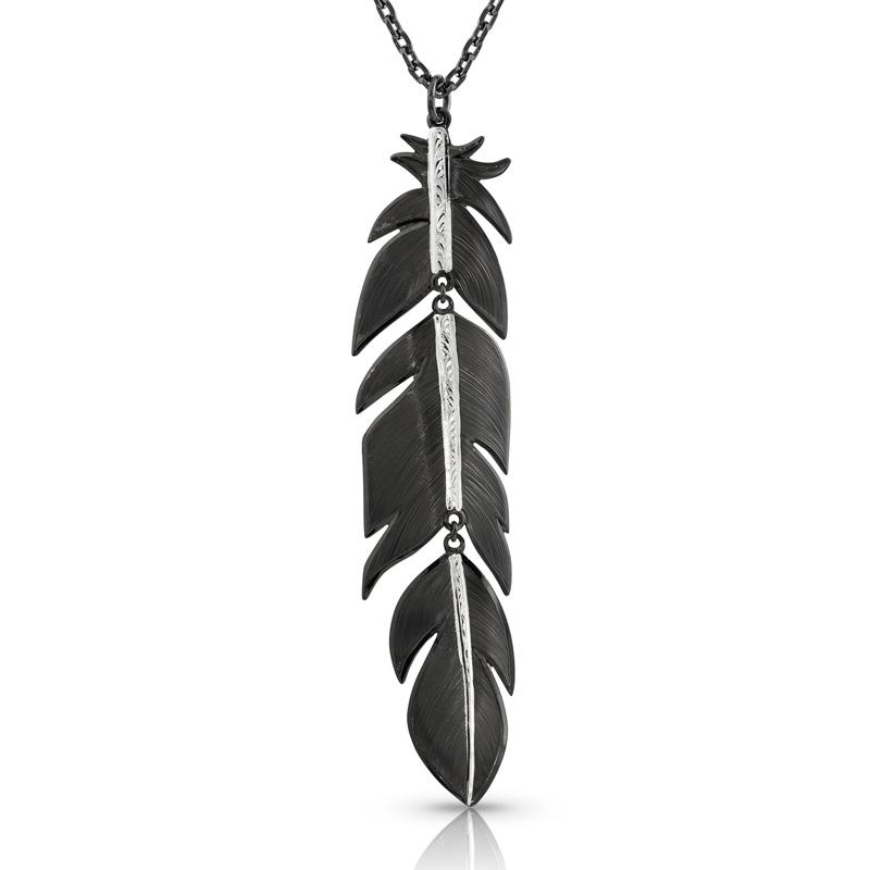 Moonlit Melody Large Black Feather Necklace