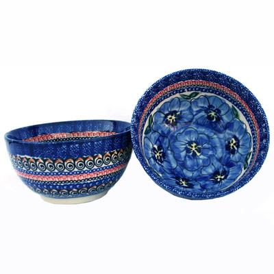 Blue Pansty 2-Cup Stoneware Cereal/Salad Bowl