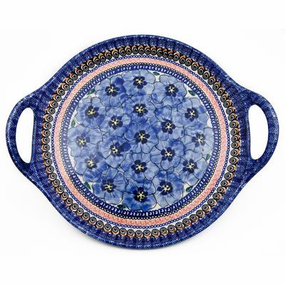 Blue Pansy Round Stoneware Handled Platter
