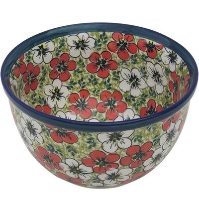 Red Bacopa 4-Cup Stoneware Mixing Bowl