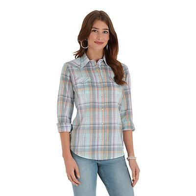 Women's Long Sleeve Biased Yoke Plaid Shirt