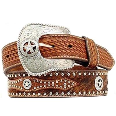 Nocona Men's Hide On Brown Leather Western Belt