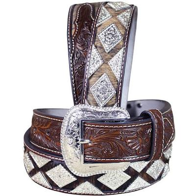 Nocona Mens Western Hair Diamond Conchos Belt